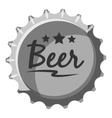 Beer bottle cap icon gray monochrome style