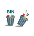 bin garbage full of trash inverted vector image