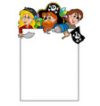 blank frame with cartoon pirates vector image
