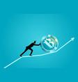 businessman pushing a bitcoin upward on graphic vector image vector image