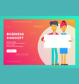 businessmen holding a white blank sheet of paper vector image vector image
