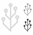 circuit tree mesh wire frame model and vector image vector image