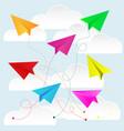 color paper plane with paper cloud vector image
