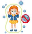 coronavirus poster design with girl wearing mask vector image