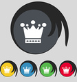 Crown icon sign Symbol on five colored buttons vector image vector image
