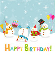 cute birthday card with snowmen vector image vector image