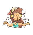 Dancing Girl In Cap Choker And Blue Top Hand vector image vector image
