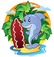 dolphin with surfing board vector image