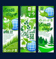 earth day banner with eco planet and green leaf vector image vector image