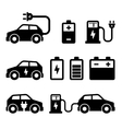 Electric Car Icons Set on White Background vector image
