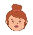 face woman cartoon bun hairstyle isolated vector image