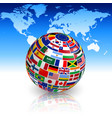 flag globe with world map vector image
