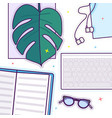 flat lay with glasses open book glasses vector image vector image