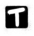 graffiti t font sprayed in white over black square vector image vector image