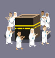 hajj pilgrimage praying around kabaa vector image