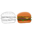 hamburger outline and colored vector image