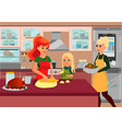 happy christmas family baking together at kitchen vector image
