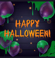 happy halloween banner with balloons on a dark vector image
