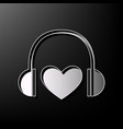 headphones with heart gray 3d printed vector image vector image