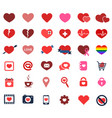 heart icons colored vector image vector image