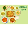 Indian cuisine thali dishes and snacks icon vector image vector image
