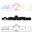 Milan skyline linear style with rainbow vector image vector image
