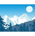 Mountains and wood in winter vector image