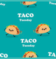 pattern with cartoon tacos vector image vector image