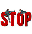 people climb on the word stop vector image