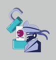 pirate with padlock data privacy vector image vector image
