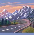 road to mountain scenic landscape vector image vector image