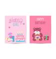 set birthday greeting cards design celebration vector image
