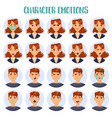 set isolated cartoon people head with emotions vector image vector image