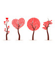 set of abstract love tree vector image vector image