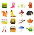 set of autemn gardening icons vector image vector image