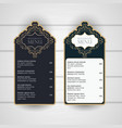 set of restaurant menu western vintage vector image vector image