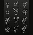 set of sexuality line icons vector image vector image