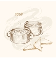 Soup and bread vector image vector image