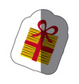 sticker colorful striped gift box with ribbon vector image vector image