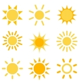 sun icons set vector image vector image