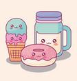 sweet donuts and ice cream kawaii characters vector image vector image