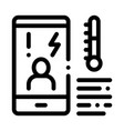 temperature phone icon outline vector image vector image