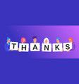 thank you letters on paper cards vector image vector image