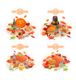 thanksgiving day banner set isometric style vector image vector image