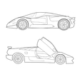 Two Outline Sports Cars vector image