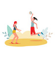 two women playing beach volleyball - cartoon girl vector image vector image