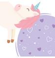 unicorn hearts love decoration magical fantasy vector image