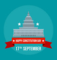 white house constitution day background flat vector image