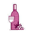 wine bottle and cup with grapes vector image