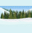winter snowy mountain hill green fir tree forest vector image vector image